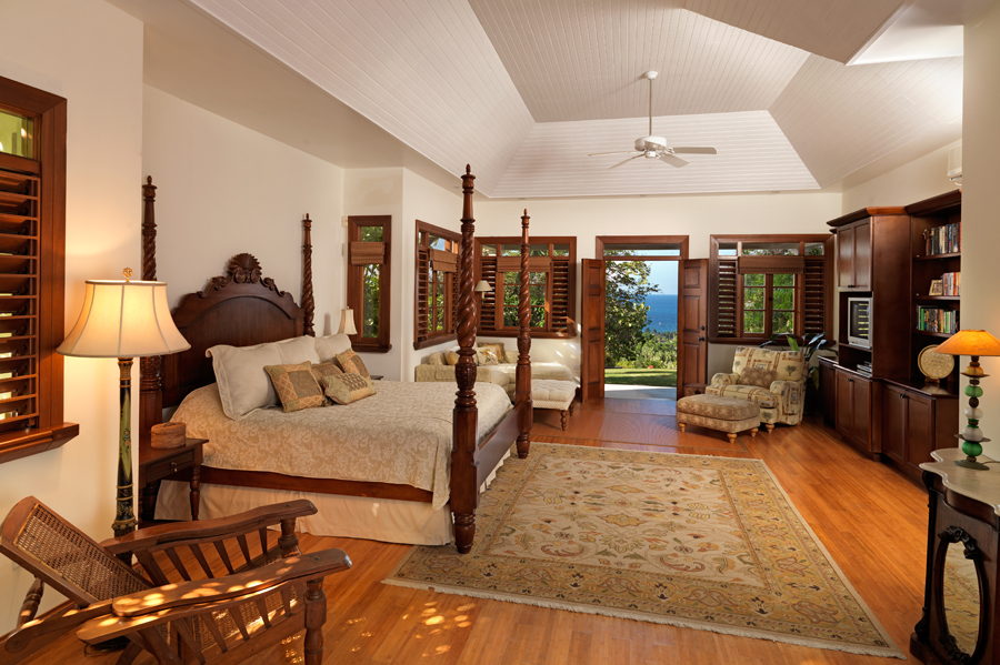 At the end of the hall, very privately located, is the Master Bedroom.