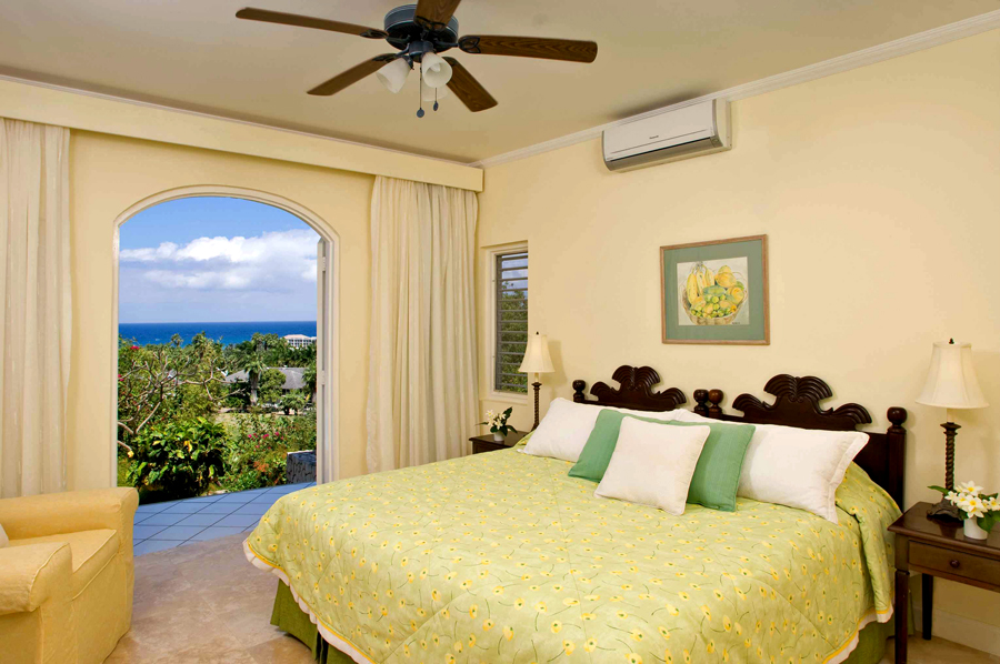 UPPER BALCONY LEVEL Two master bedrooms are on the upper level, ideally situated for adult couples or a family of four sharing these quarters. Both bedrooms are equal in size.
