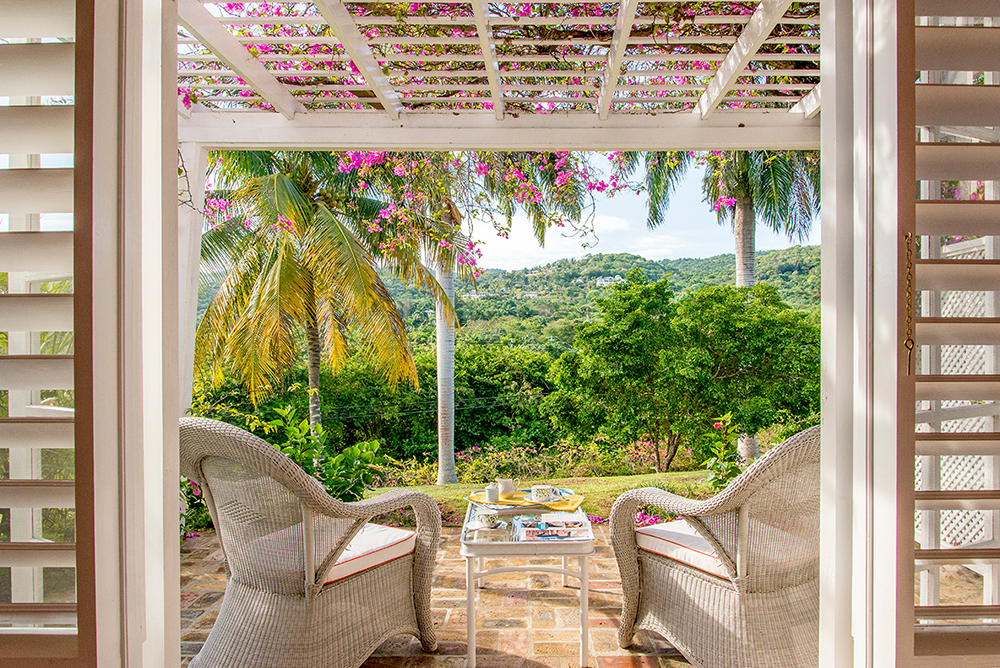 ... and opens through French doors to a private patio for two.