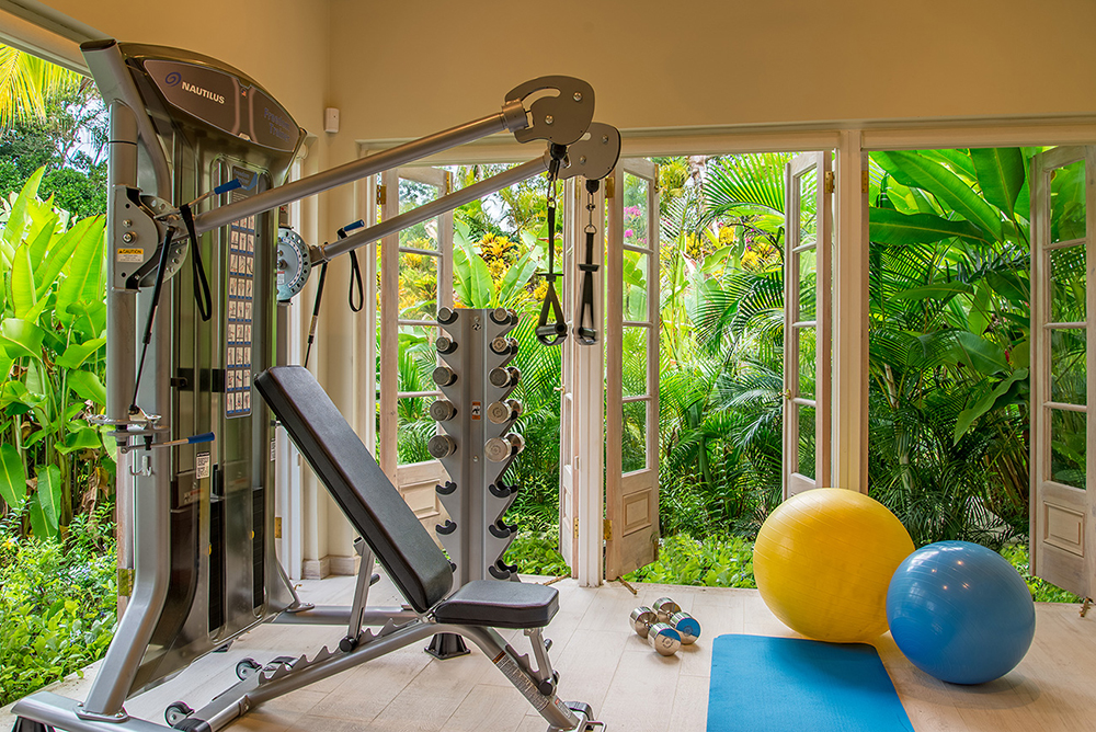 The Cottage fitness room offers a Nautilus Freedom Trainer, 2 fitness balls, weights, bench, mats, exercise bands and TV  (available only with full house rental).