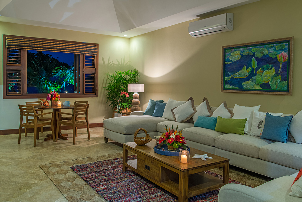 Adjacent is the air-conditioned TV Room where families can gather for games or   movie night.  Cable TV is also in each bedroom.