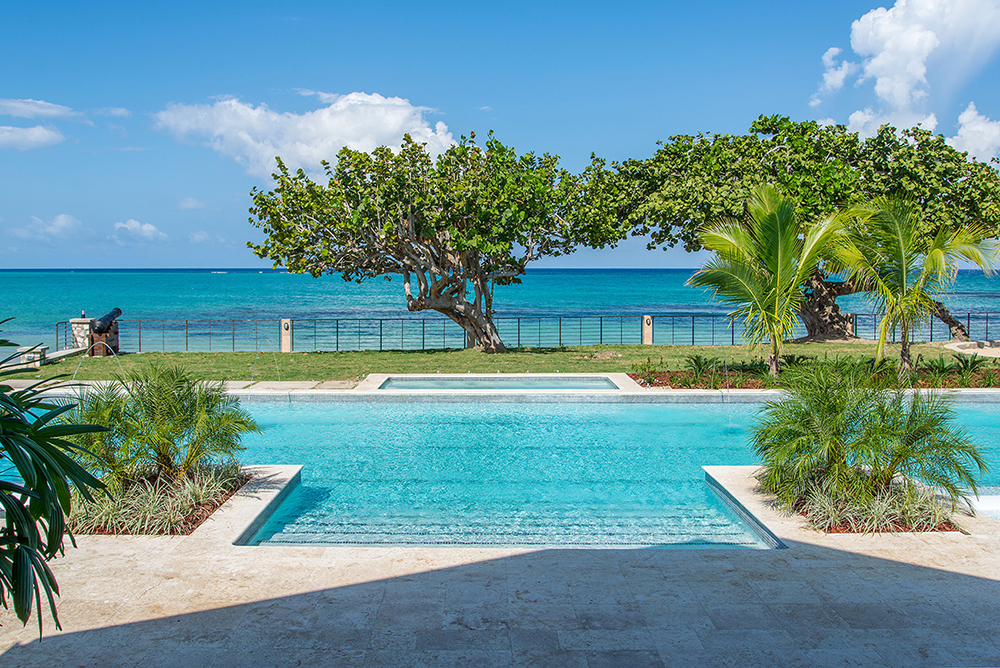 Take a few more steps to the piece de resistance:   breathtaking expanses of blue water, virtually your own. Shallow entry steps create safe levels for wanna-be little swimmers.