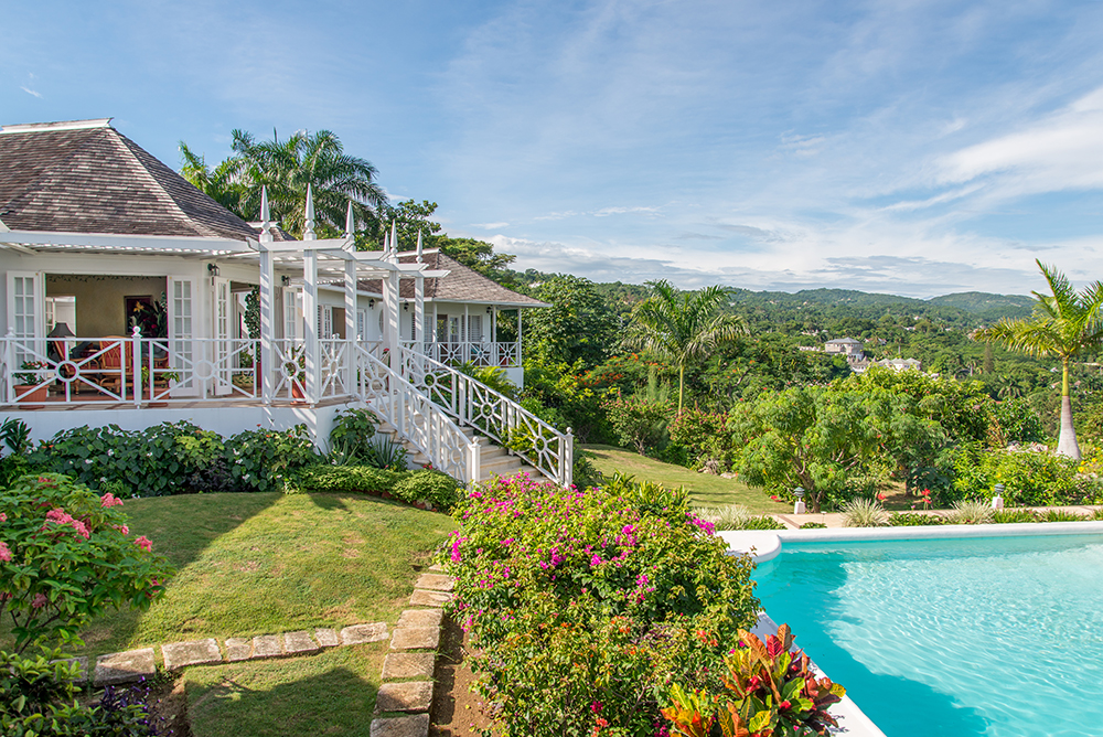 Grounds are lush with bougainvillea and hibiscus-filled gardens.