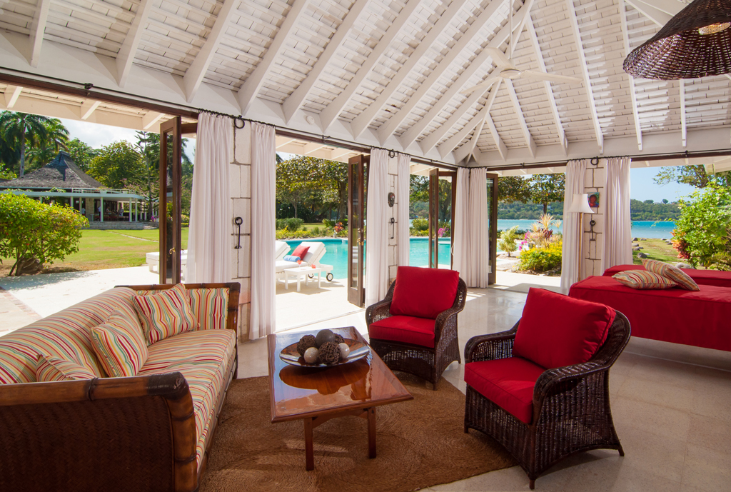 The Cottage living room includes 2 chaise lounges that are actually twin mattress for 2 additional guests, enabling Noble House to sleep 10 guests comfortably ... each pair of guests with a p