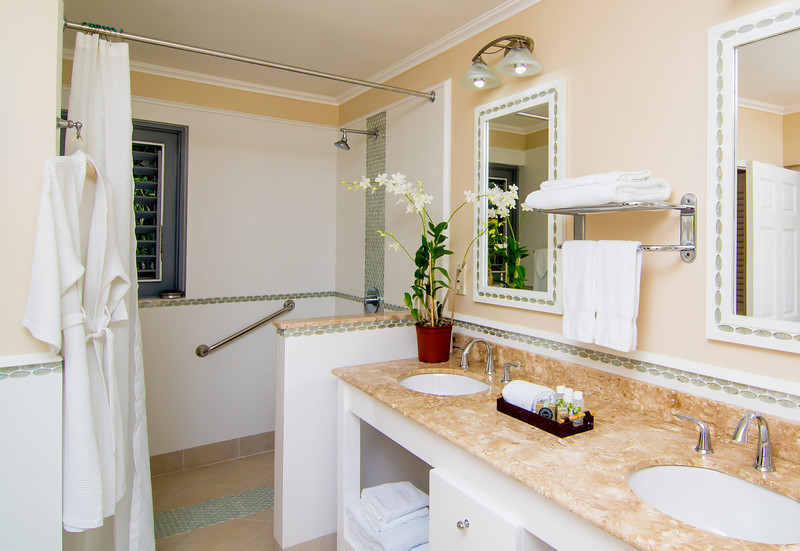 Its handicap accessible bathroom features a double vanity and seamless entrance walk-in shower.