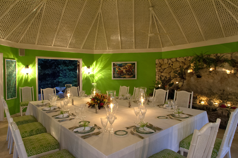 Dinners can be served  in the grotto-style dining gazebo where guests linger over memorable meals.