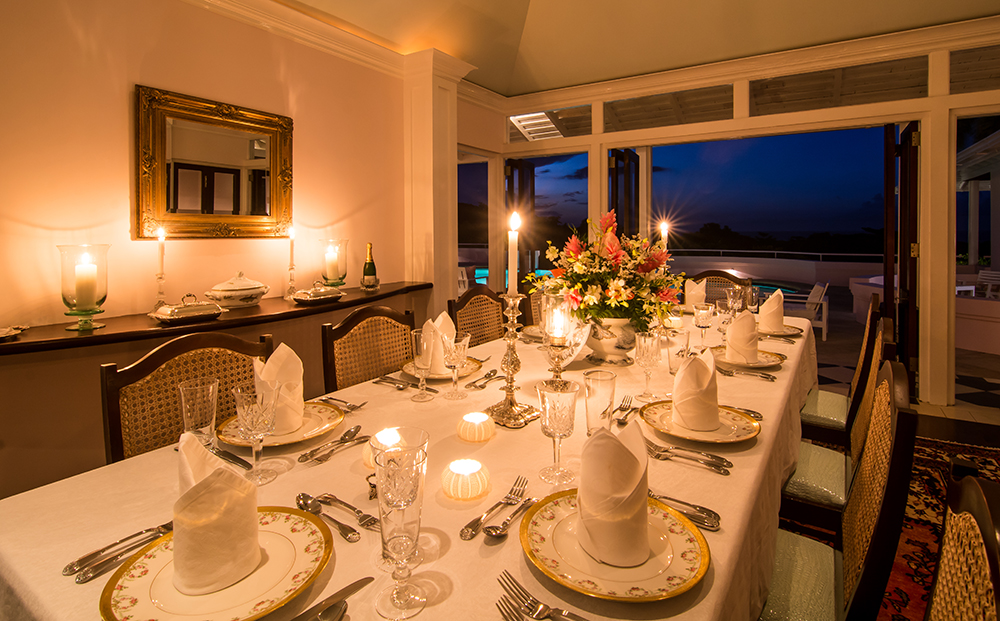 Memorable meals can be served al fresco or in the inside air-conditioned dining room.