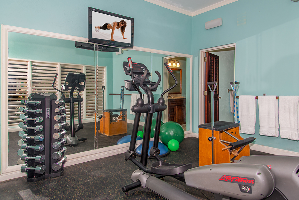 Downstairs is the air-conditioned  fitness room.  Just as near are 18 holes of golf on challenging White Witch, minutes down the hill.