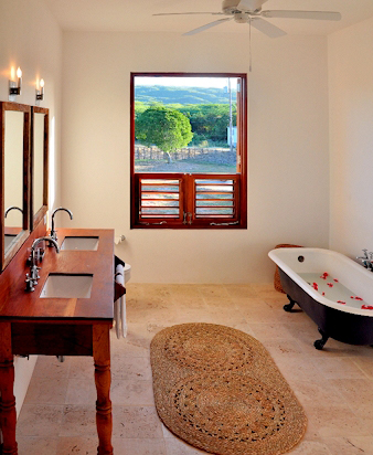 Sink basins are in stylish cedar pedestals.  And everywhere, the view's the thing.