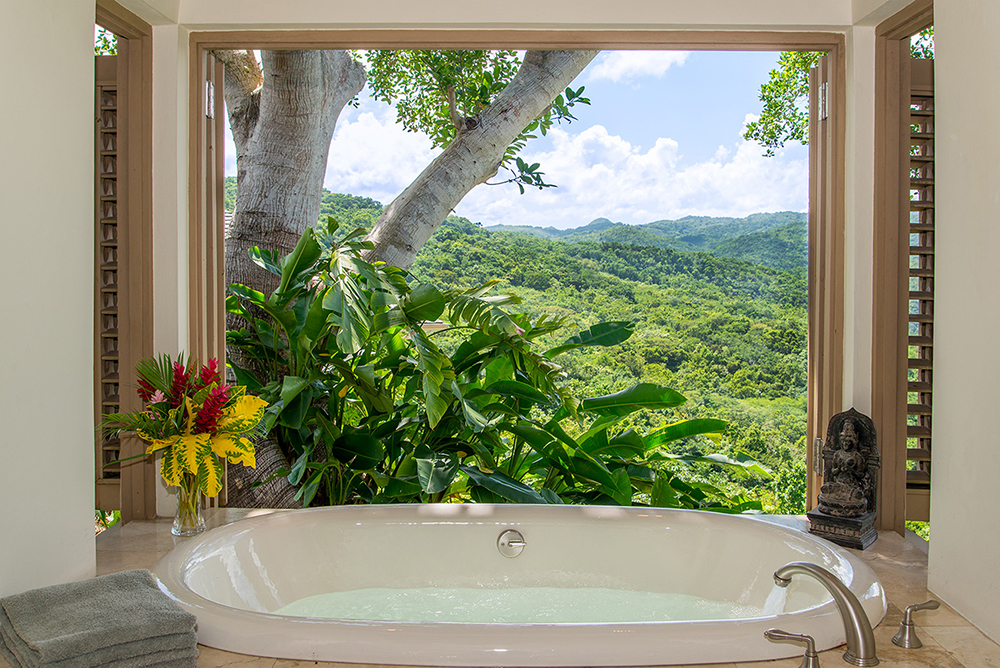 Suite 3 Bathtub with mountain view