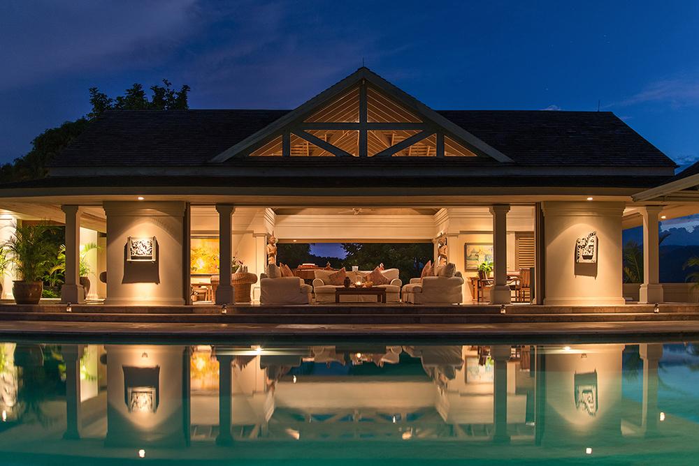 Pool Pavilion at dusk