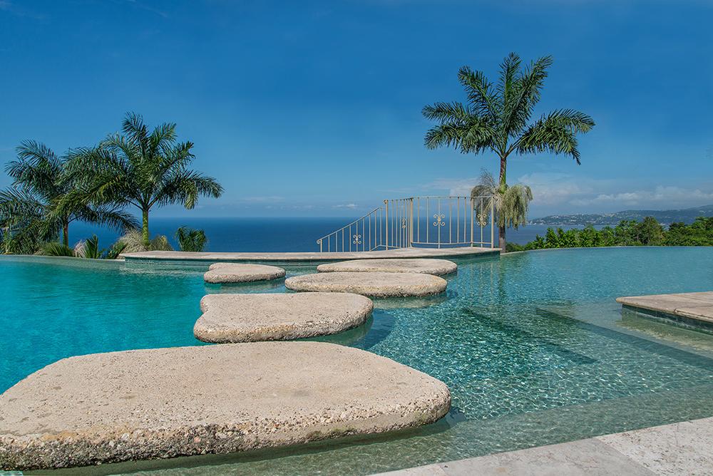 Pool stepping stones to Dining Gazebo