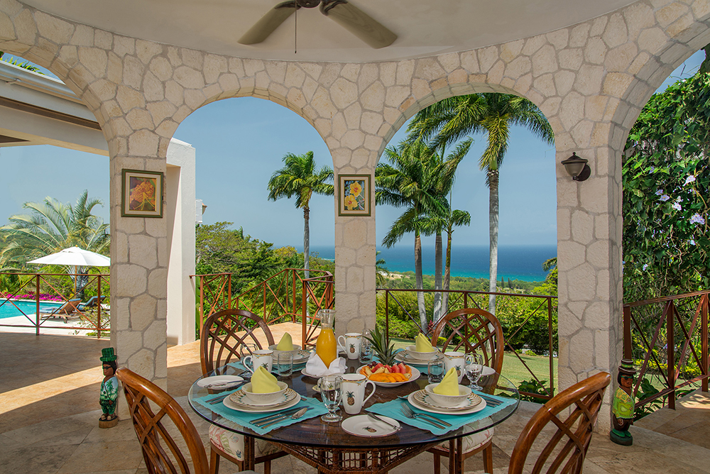 Start the day with fresh fruit and Jamaican coffee in the breakfast gazebo ...