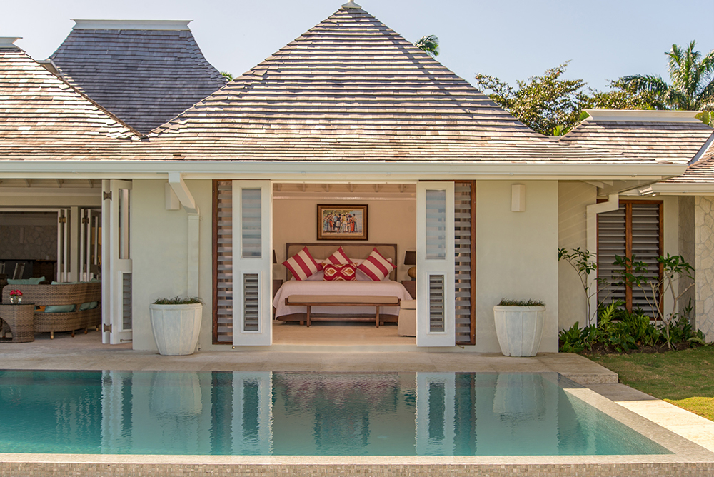 The master bedroom opens onto the pool terrace...