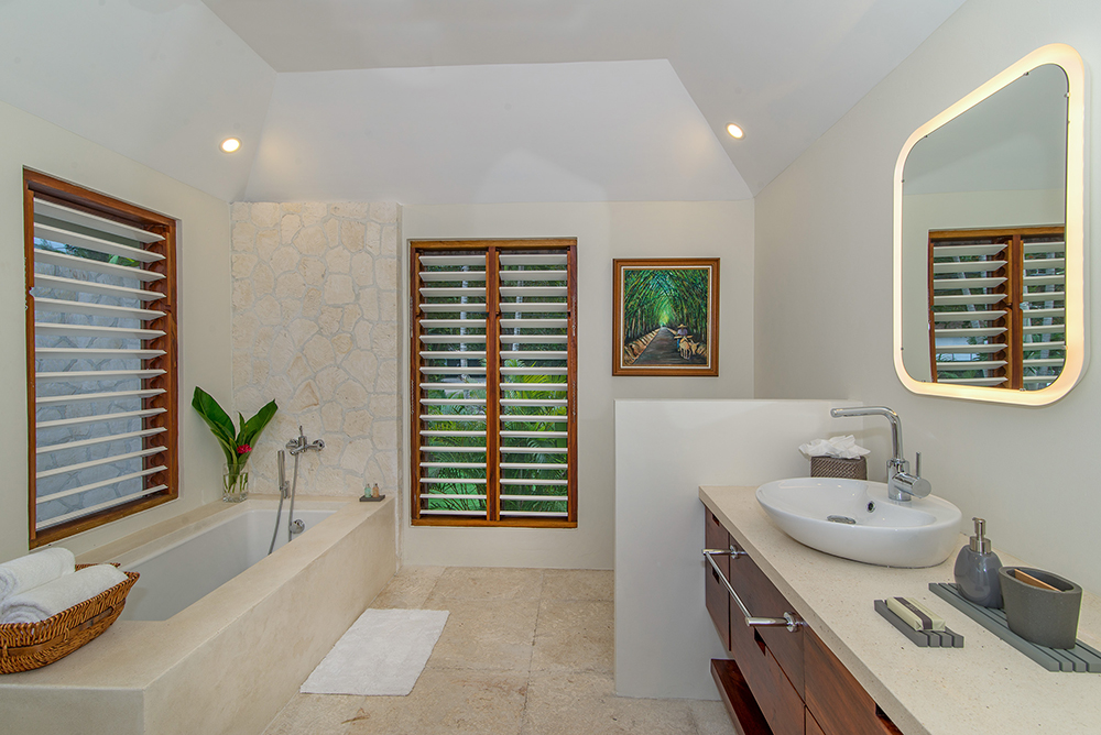 Upgraded bathrooms include a soaking tub and private outside shower.