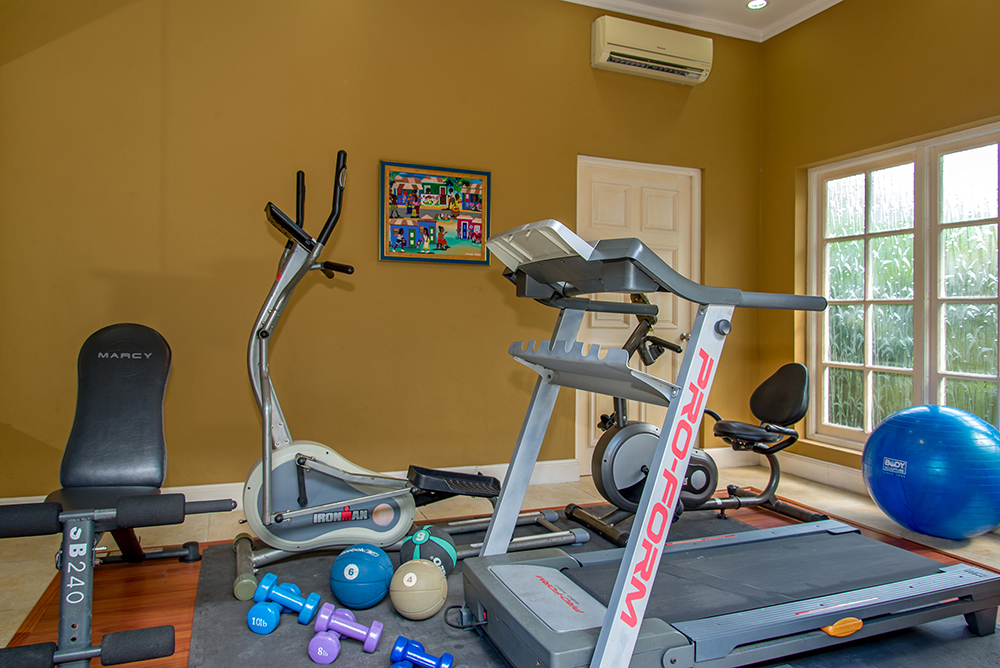 Air-conditioned gym: TV, DVDs, treadmill, elliptical, spin cycle, balls and free weights.