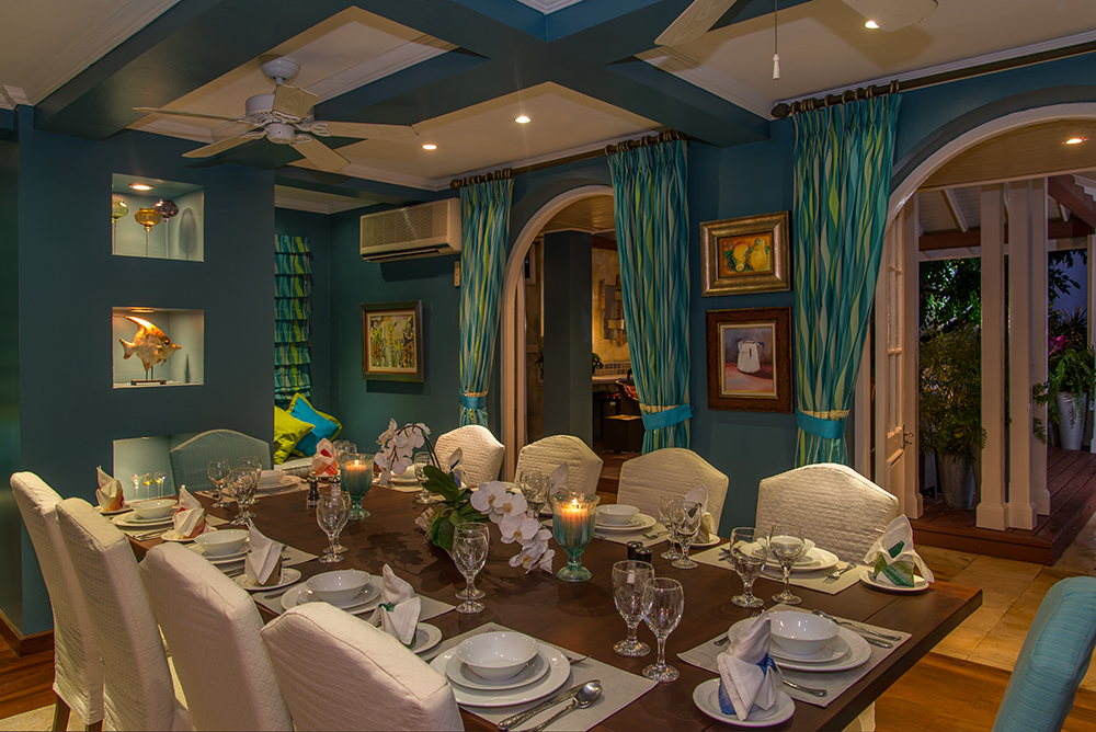 Dine in the formal dining room...