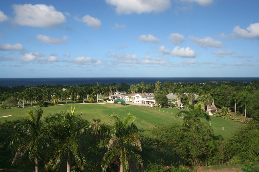 From its lofty perch, it commands a vast and beautiful view over the famous Half Moon Robert Trent Jones golf course, pro shop, first fairway and the deep blue Caribbean Sea.