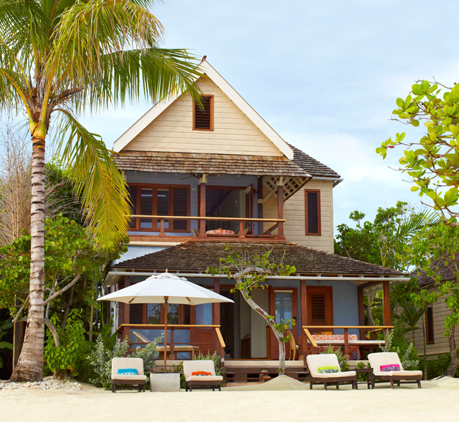 Two-bedroom beach villas in classic Caribbean style are along the beach too.