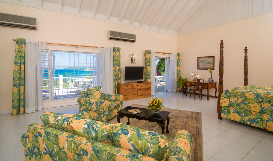 UPSTAIRS ACCOMMODATIONS 1st MASTER BEDROOM - 600 sq ft  Suite with kingsize bed, marvelous sea view, desk, and deep-cushioned sofa and chairs for watching TV connects to ...