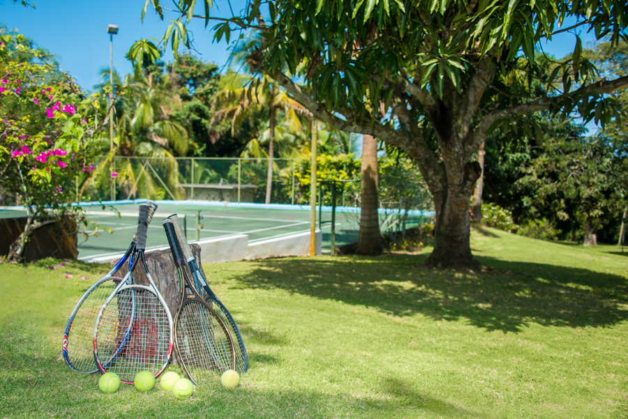 OUTSIDE Lit for night play, the tennis court belongs only to Wild Orchid guests.  Play as often, as long and as late as you wish.
